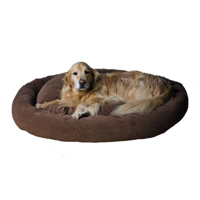 Microfiber Bagel Dog Bed in Brown