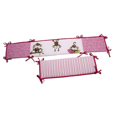 NoJo 3 Little Monkeys Girl's Crib Bumper