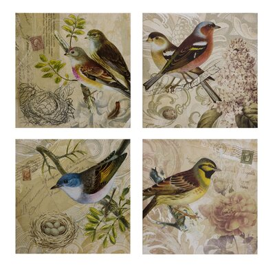 IMAX Kincaid Bird Canvas Wall Art (Set of Four)