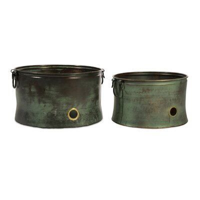 IMAX Leva Verdigris Two Piece Hose Holder Set in Copper