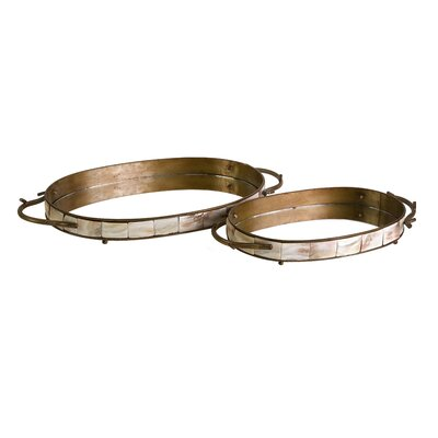 IMAX Noelle Mirror Oval Serving Tray (Set of 2)