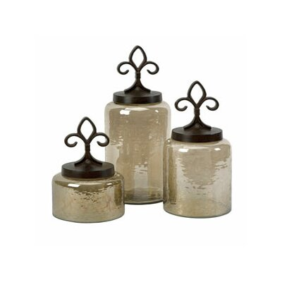 IMAX Fleur De Lis Lidded Jar (Set of 3)