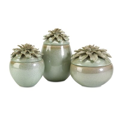 IMAX Tilly Floral Lidded Vases (Set of 3)