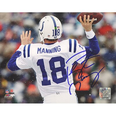 NFL Peyton Manning White Jersey Throwing Vs. Bills Horizontal Autographed