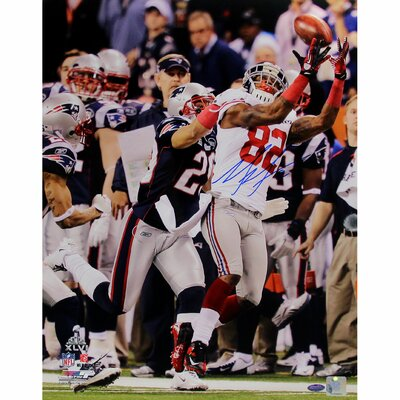 Steiner Sports Mario Manningham Autographed Vertical Super Bowl 2011 Catch Photograph