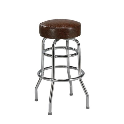"Regal Steel Double Ring 30"" Backless Metal Swivel Barstool"