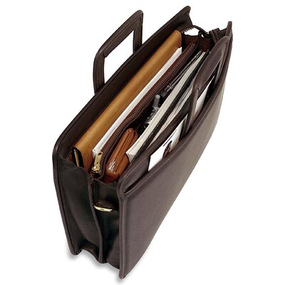 Jack Georges University Double Gusset Zip Top Tri-Pocket Briefcase