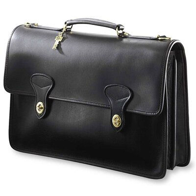 Jack Georges University Double Gusset Flap Over Briefcase with 2 Turnlocks