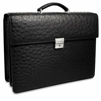 Jack Georges Genuine Ostrich Double Gusset Flapover Briefcase