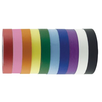 "ECR4kids 1"" x 60 Yards 10 Pack of Assorted Color Kraft Tape Rolls"
