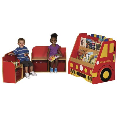 ECR4kids 3-Piece Fire Engine Book Storage Center