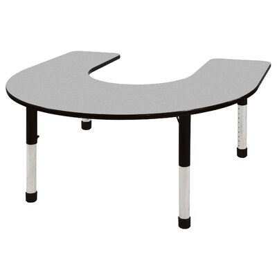"ECR4kids 60"" x 66"" Horseshoe Shaped Adjustable Activity Table in Gray"