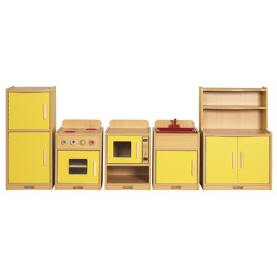 ECR4kids Colorful Essentials Five Piece Play Kitchen
