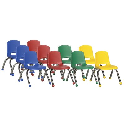 "ECR4kids 10"" Plastic Stack Chair with Chrome Legs (Set of 10)"