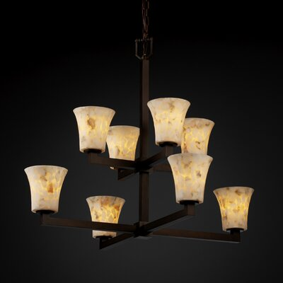 Justice Design Group Modular Alabaster Rocks 8 Light Chandelier