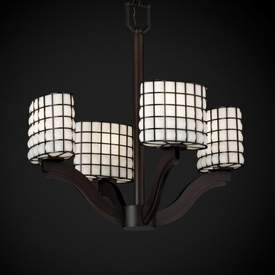Justice Design Group Wire Glass Bend 4 Light Chandelier