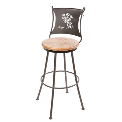 "Stone County Ironworks Sage 25"" Swivel Counter Height Barstool in Distressed Pine"