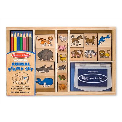Melissa and Doug Wooden Animal Stamp Set