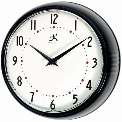 Infinity Instruments Retro Round Metal Wall Clock In Black