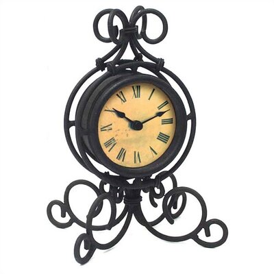 Infinity Instruments Black Wrought Iron Table Clock