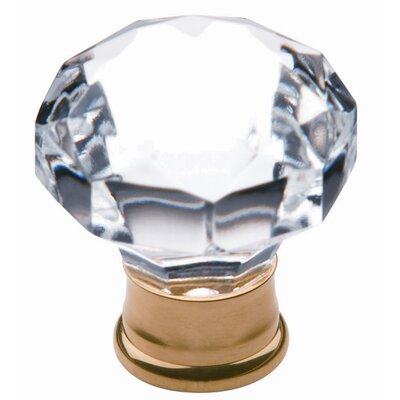 Cut Crystal Dome Cabinet Knob in Polished Brass