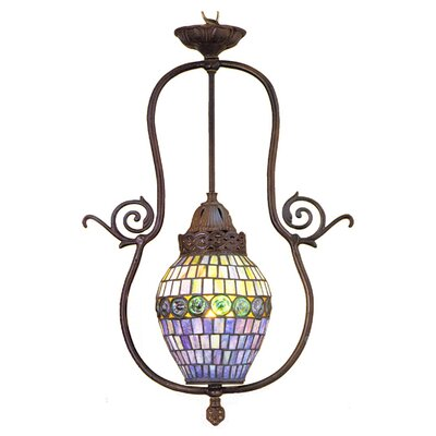 Victorian Tiffany Nouveau 1 Light Turtleback Foyer Pendant