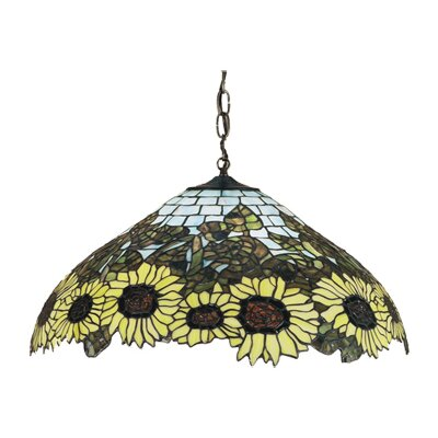 Meyda Tiffany Wild 3 Light Sunflower Pendant