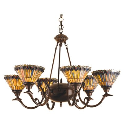 6 Light Tiffany Jeweled Peacock Chandelier