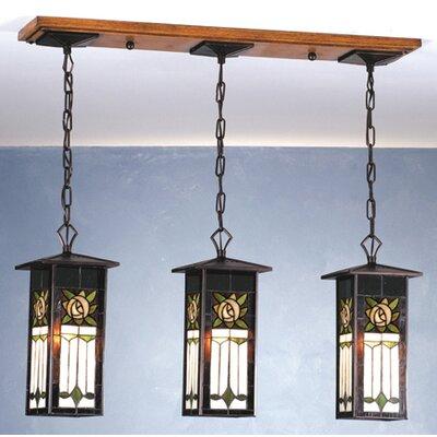 Meyda Tiffany Pasadena Rose 3 Light Lantern Island Pendant