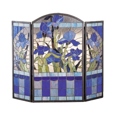 Meyda Tiffany Iris 3 Panel Fireplace Screen