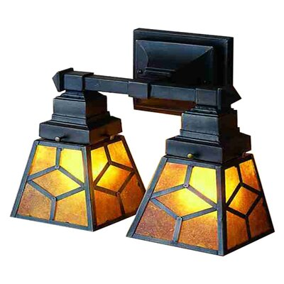 Amber Mica Diamond Mission Two Light Wall Sconce