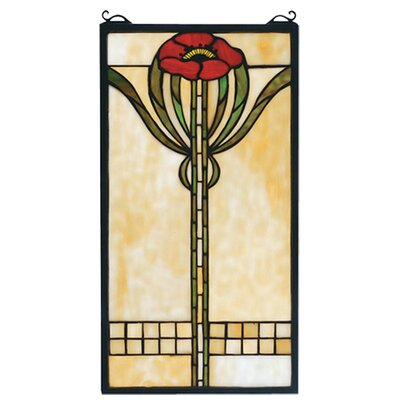Meyda Tiffany Floral Parker Poppy Stained Glass Window