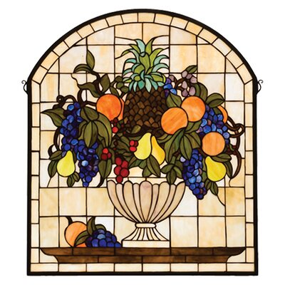Meyda Tiffany Victorian Fruit Fruitbowl Stained Glass Window