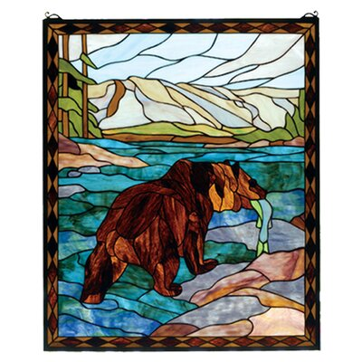 Meyda Tiffany Lodge Animals Grizzly Bear Stained Glass Window