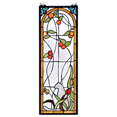 Meyda Tiffany Tiffany Floral Animals Nouveau Recreation Cat and Tulips Stained Glass Window