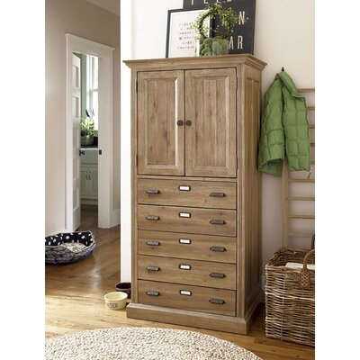 Paula Deen Home Down Home Kitchen Organizer Cabinet in Distressed Oatmeal Finish