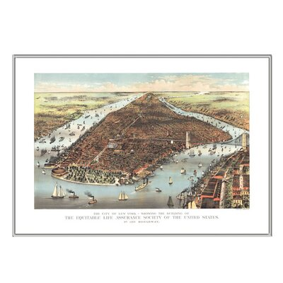 Universal Map New York 1883 Historical Print Mounted Framed Wall Map