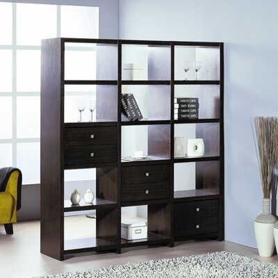 Hokku Designs Bisect Room Divider with Six Adjustable Storage Drawers in Wenge