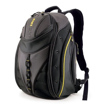 Express Laptop Backpack in Black with Yellow Trim
