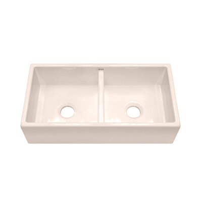 "Julien F110 35.25"" x 18.25"" Farmhouse Double Bowl Kitchen Sink"