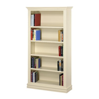 "A&E Wood Designs Hampton 84"" Bookcase in Pearl White"