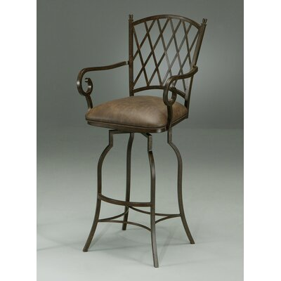 "Pastel Furniture Atrium Rust 30"" Bar Stool w/ Arms in Florentine Coffee Vinyl"