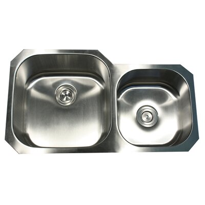 "Nantucket Sinks 35.38"" x 20.13"" x 8"" Double Bowl Kitchen Sink"