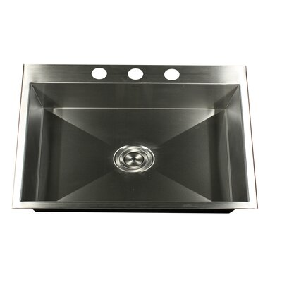 "Nantucket Sinks 25"" x 22"" Self Rimming Single Bowl Kitchen Sink"