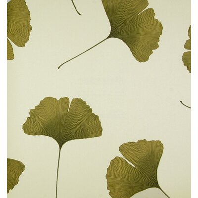 Marimekko Biloba Wallpaper in Green and Ivory by Kristina Isola