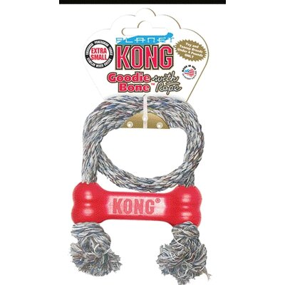 KONG Red Goodie Bone with Rope Dog Toy