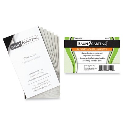 "Baumgartens Magnetic Business Card, Adhesive Back, 3-1/2""x2"", 25 per Pack, Black"