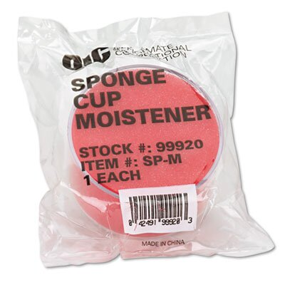 Officemate International Corp Sponge Cup Envelope Moistener, 3-inch Diameter, Clear/Red