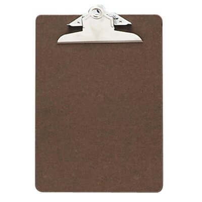 "Officemate International Corp Hardboard Clipboard, 1"" Paper Capacity, 6""x9"", Brown"