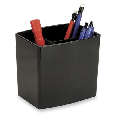 Officemate International Corp Pencil Holder, Large, 3 Compartmentss, Black